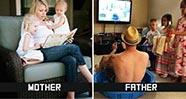 10 Gambar Lucu Perbedaan Gaya Menjaga Anak Antara Ayah Dan Ibu