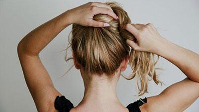 tying hair