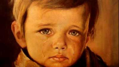 Crying Boy Painting