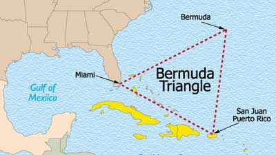Bermuda Triangle Map at Atlantic Ocean