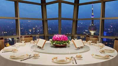 Club Jin Mao di Grand Hyatt, Shanghai, Cina adalah salah satu restoran tertinggi dunia