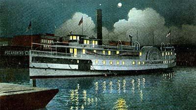 Eliza Battle digambarkan sebagai kapal hantu steambot yang akan muncul kembali dekat bulan purnama