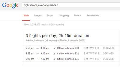 Mesin pencari google menyediakan fitur pencarian jadwal penerbangan