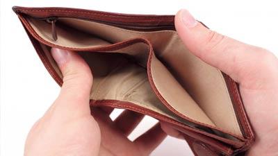 Kebutuhan akan uang dalam dompet yang kosong