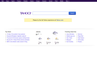 Yahoo adalah salah satu contoh mesin pencari popular di Internet