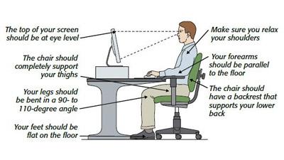 Postur duduk ideal saat di depan komputer
