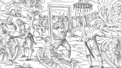 The Breaking Wheel adalah alat penyiksaan dengan roda dimana tulang korban dihancurkan