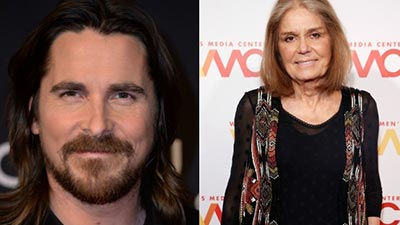 Christian Bale and Gloria Steinem